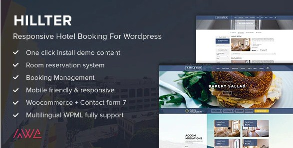 Latest Photo of  Hillter Responsive Hotel Booking for WordPress