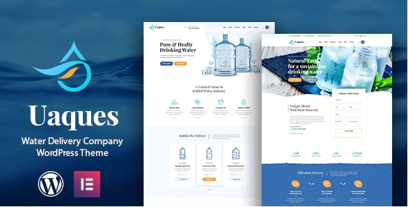 Latest Photo of  Uaques Drinking Water Delivery WordPress Theme RTL