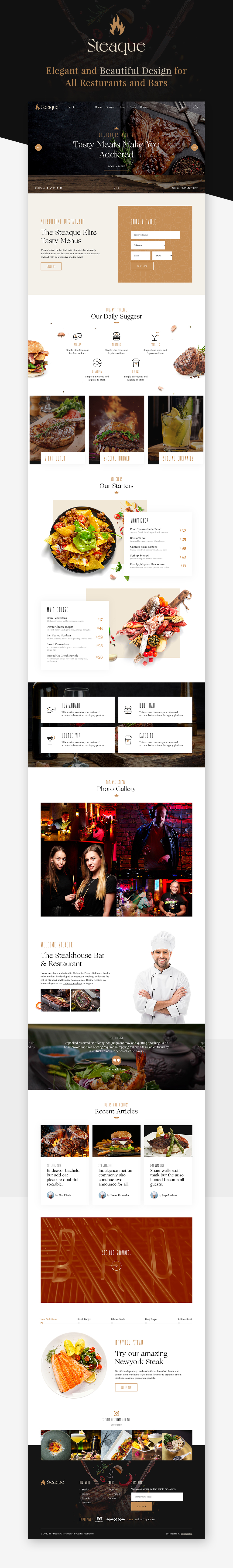 Latest Photo of  Steaque | Restaurant and Cocktail Bar WordPress Theme