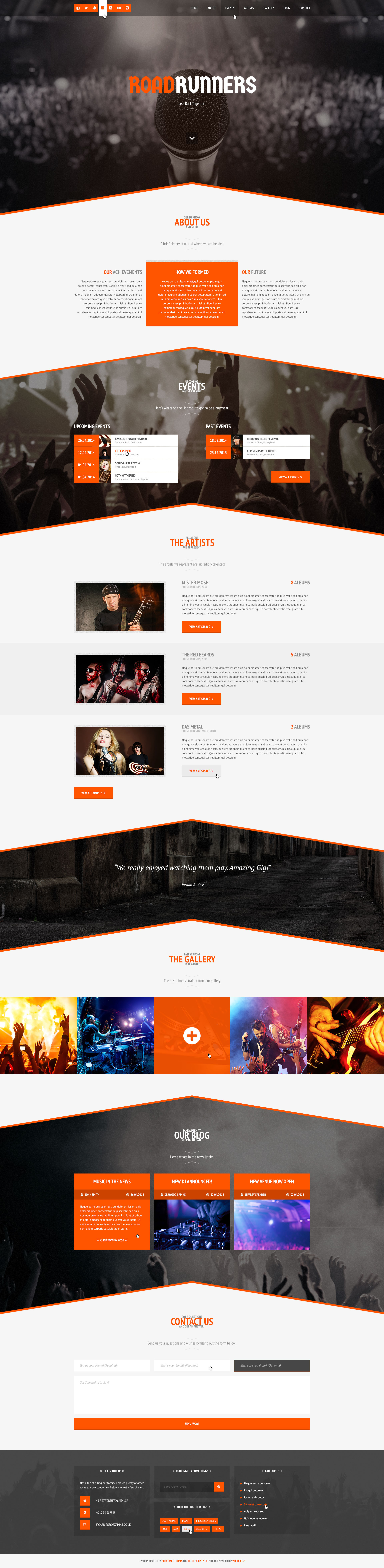 Latest Photo of  RoadRunners A One Page Music WordPress Theme