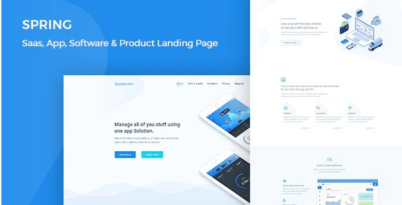 Latest Photo of  Spring Software and App Landing WordPress Theme