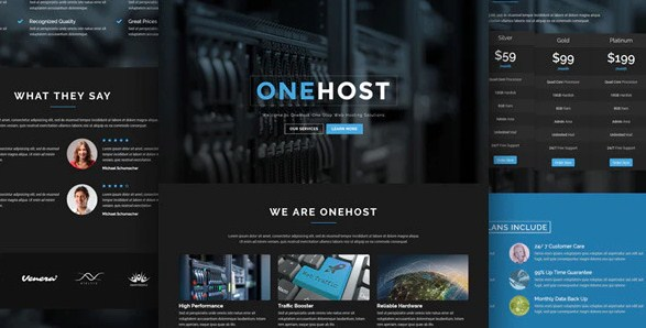 Latest Photo of  Onehost One Page WordPress Hosting Theme