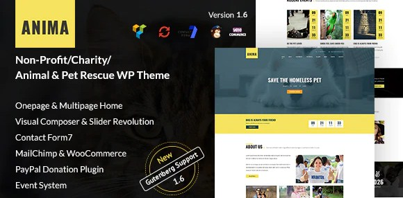 Latest Photo of  Anima WordPress Non Profit Charity Theme for Pet Rescue and Animal Shelter
