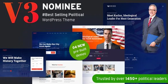 Latest Photo of  Nominee Political WordPress Theme for Candidate/Political Leader