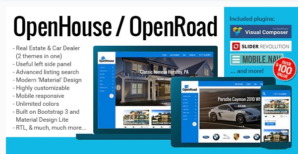 Latest Photo of  OpenHouse Real Estate and OpenRoad Car Dealer Responsive Material WordPress Theme