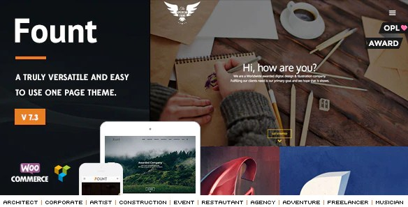 Latest Photo of  Fount One & Multipage Hybrid WordPress Theme